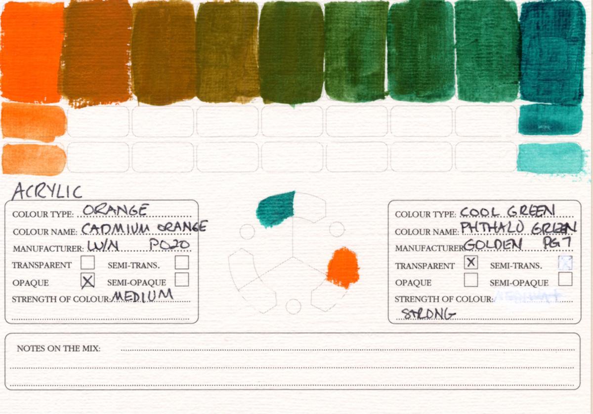 Color-Studies-Acrylic-Cadmium-Orange-to-Phthalo-Green