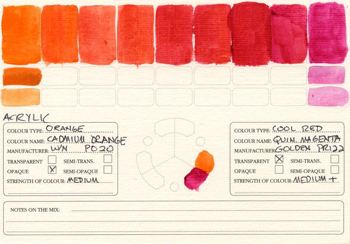 Color-Studies-Acrylics-Cadmium-Orange-to-Quinacridone-Magenta