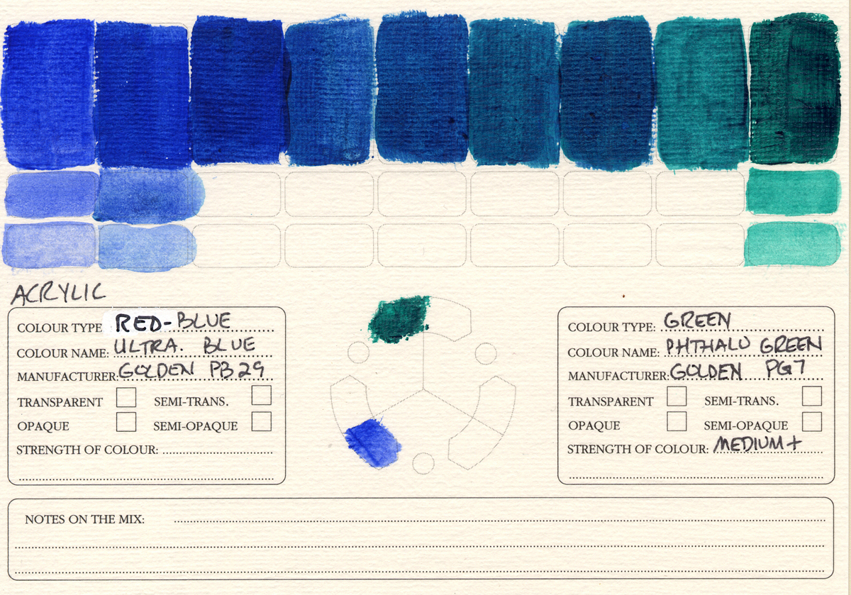 Color-Studies-Acrylics-Ultramarine-Blue-to-Phthalo-Green