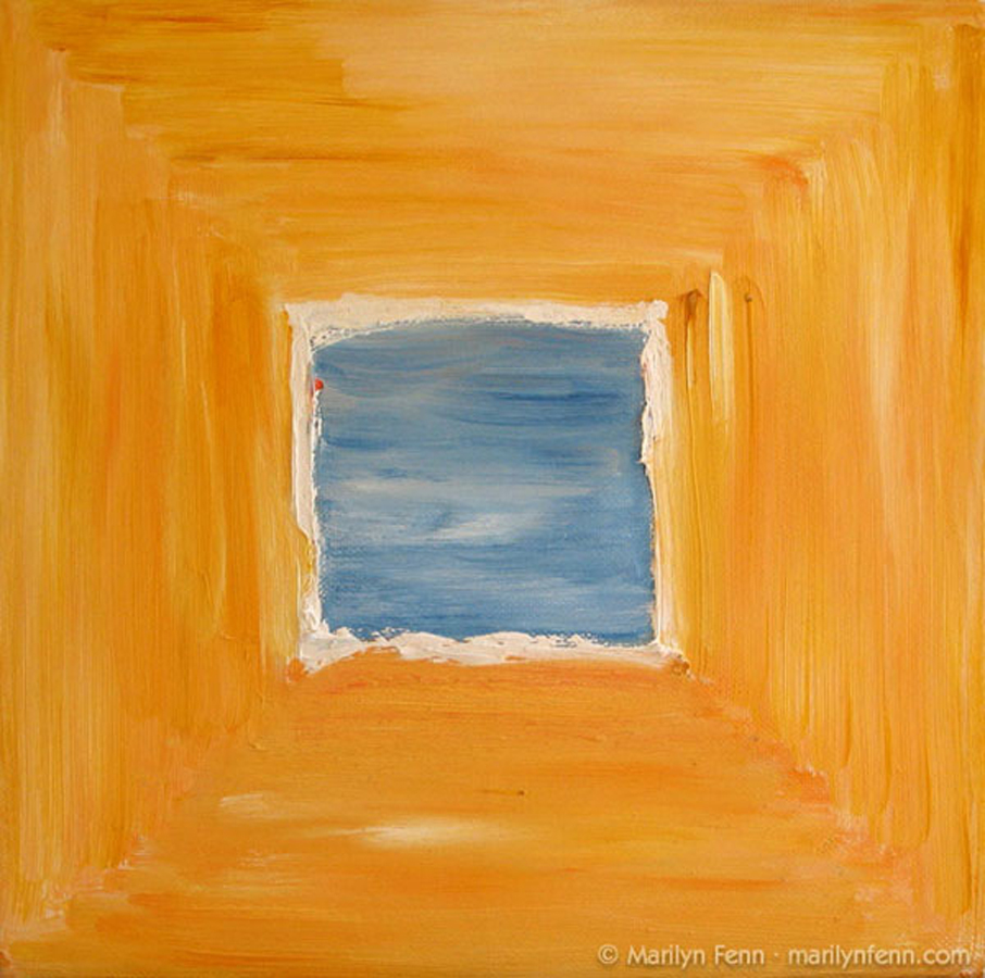 Blue Square in Yellow