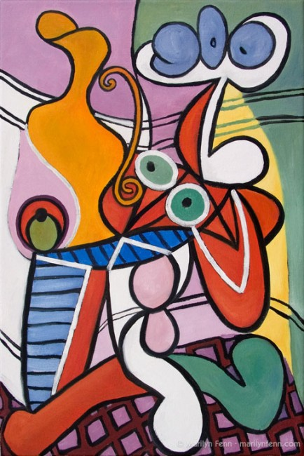 "Copy After Picasso's ""Nude and Still Life, c. 1931"" Oil on canvas 18"" x 12"" © 2011 Marilyn Fenn"