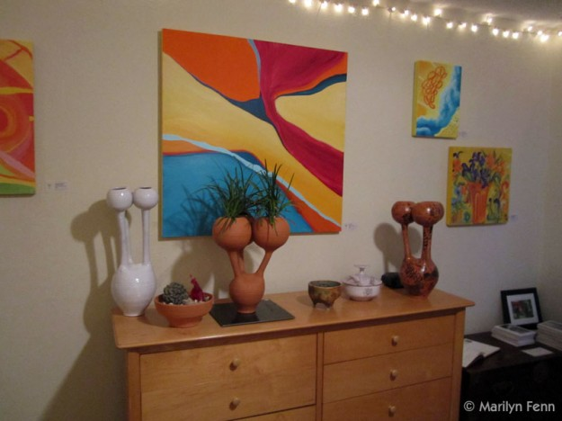 Paintings by Marilyn Fenn and ceramics by Michael Merritt